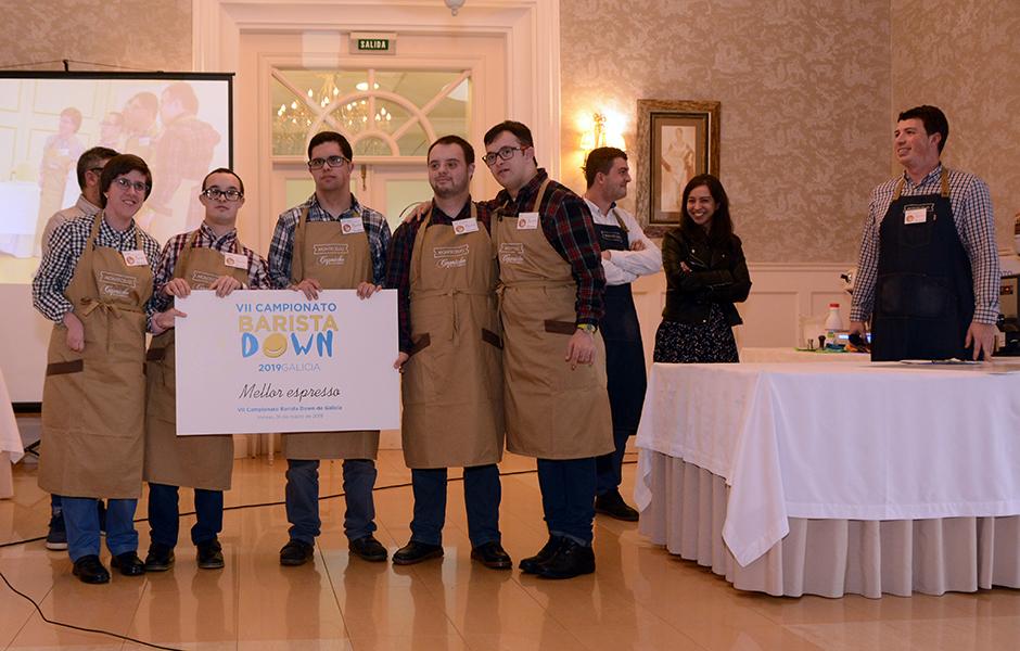 El equipo Rosetta de Down Compostela gana el premio al mejor espresso en el VII Concurso de Baristas Down