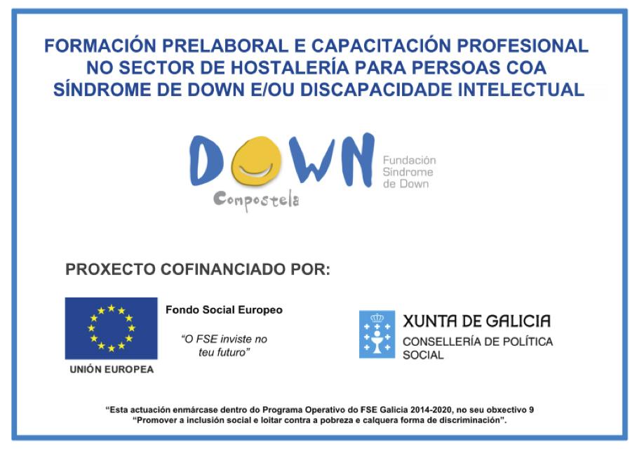 Doce mozos e mozas de Down Compostela capacítanse no sector da hostelería cunha achega de Política Social e do Fondo Social Europeo