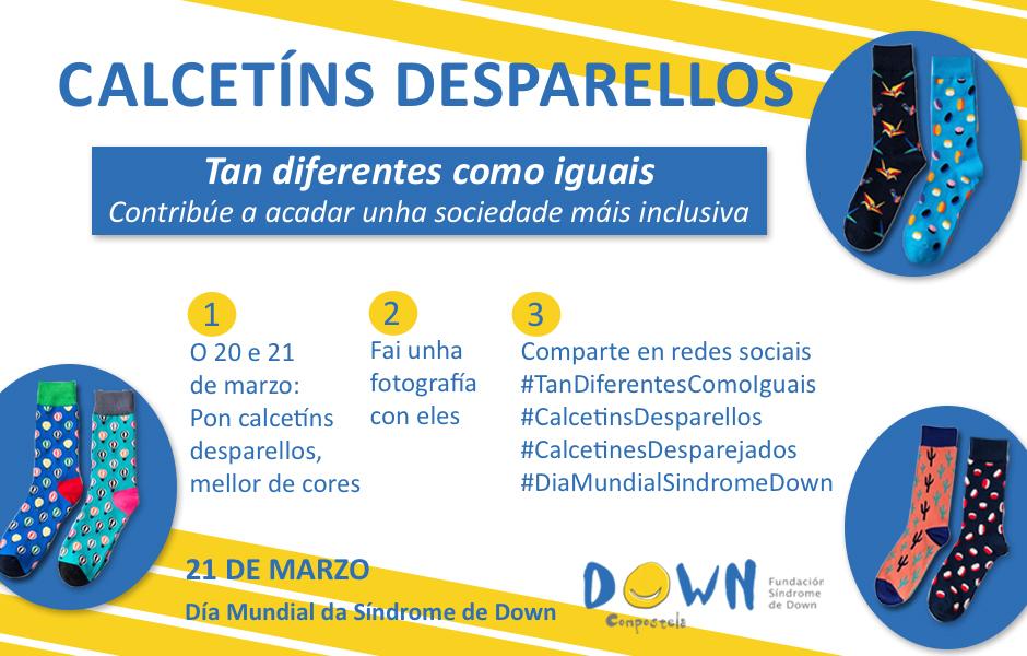 Down Compostela conmemora o Día Mundial da Síndrome de Down coa campaña 'Calcetíns desparellos: Tan diferentes como iguais'