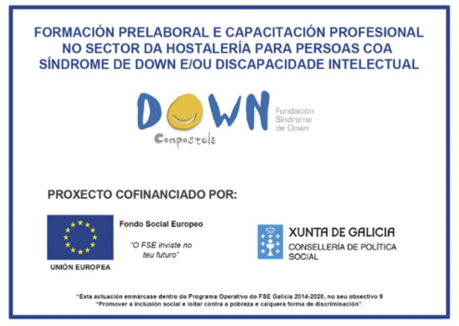 Oito mozos e mozas de Down Compostela fórmanse en hostalería co apoio do FSE e da Consellería de Política Social