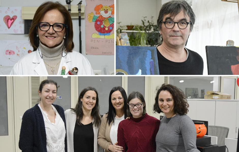 La doctora Mª José Fernández Seara, Xurxo Martiño y Emetel, Premios Down Compostela 2020